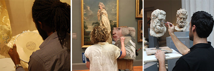 Three images of artists copying textile, painting, and sculpture in the galleries
