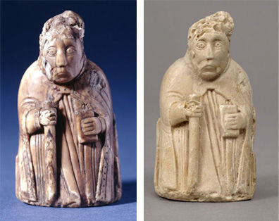 Chess Piece of a Bishop and plaster copy