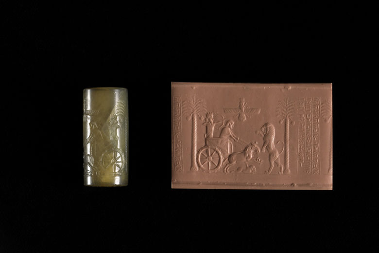 The Darius Cylinder Seal and modern impression showing the king in a chariot hunting lions