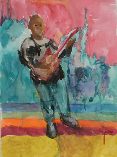 Self-Portrait with Rock and Roll Guitar