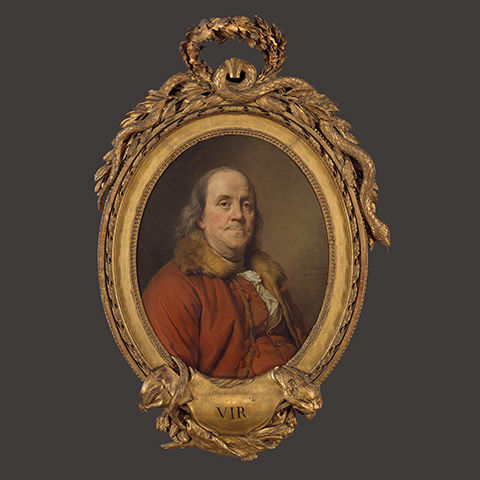 A painting of Benjamin Franklin in a red coat with fur trim