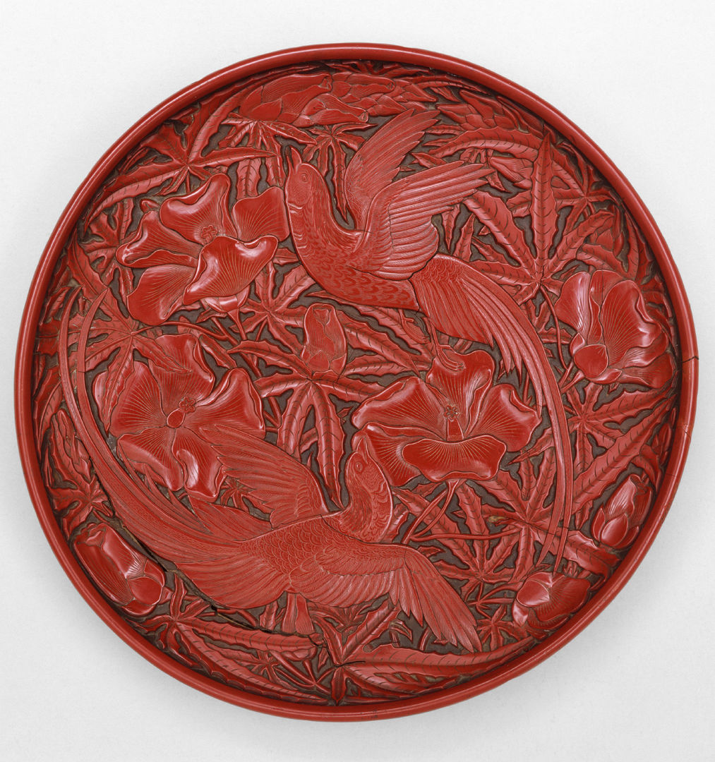 Dish with long-tailed birds and hollyhock