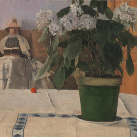 Painting of potted hydrangeas in the foreground and a woman reading in the background