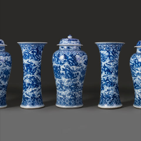 A selection of blue-and-white porcelain objects from China