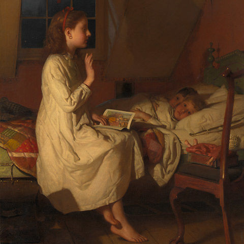 Painting of a girl reading to two children in a bed
