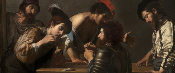 Detail view of a Valentin de Boulogne painting showing a group of five soldiers playing a game involving cards and dice