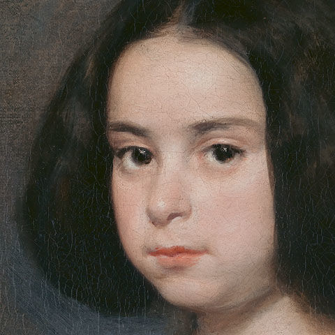 Detail view of an oil painting of a young girl