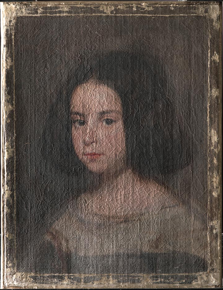 A Velázquez portrait of a young girl during the process of raking light