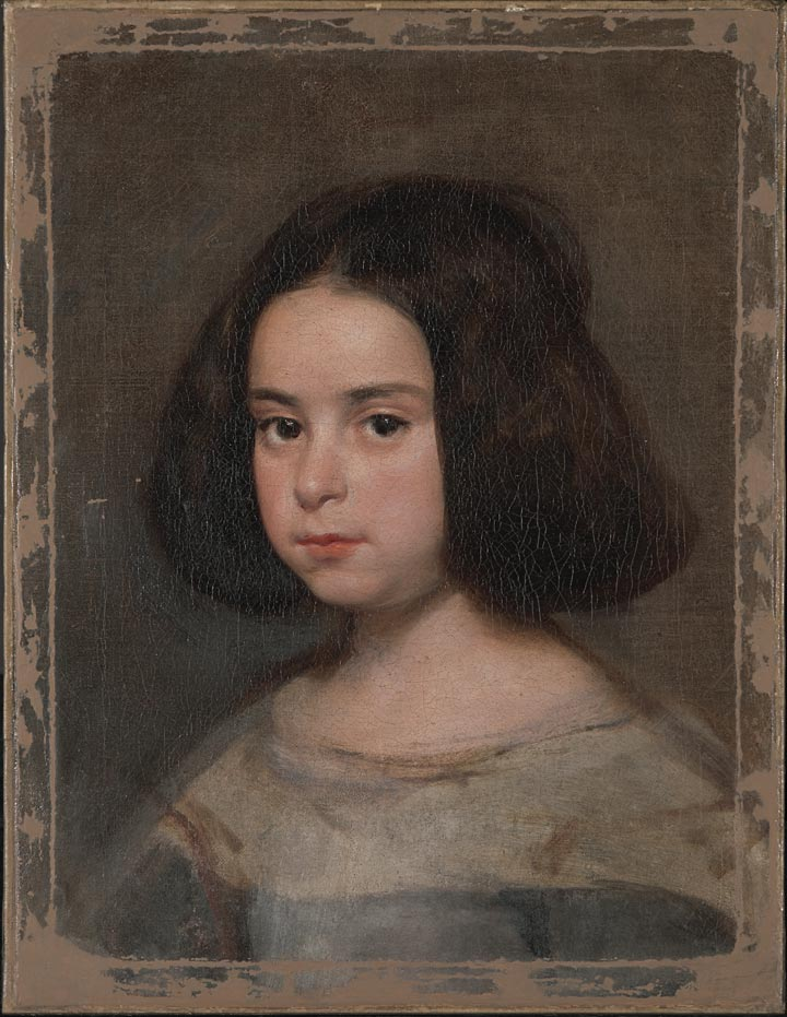 A Velázquez portrait of a young girl, after consolidation and filling