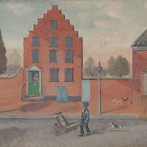 Detail of an oil painting showing a street salesman in front of a brick building