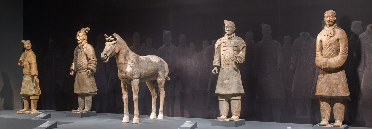 Four lifesized terracotta warriors and a horse