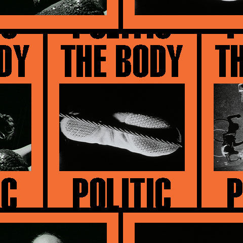 The Body Politic | Tiles of screen shots of black-and-white images against an orange background