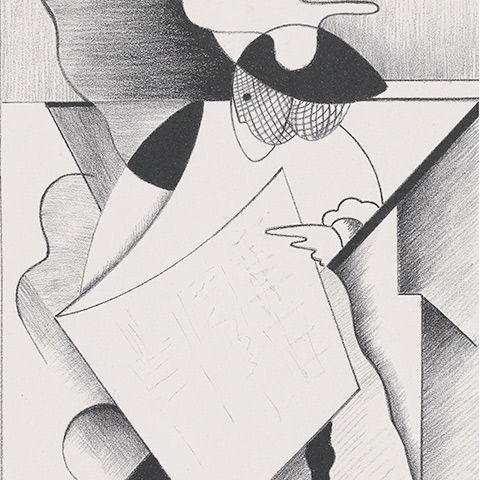 Lithograph by Sargent Claude Johnson showing cubist figure of a woman, Dorothy C.