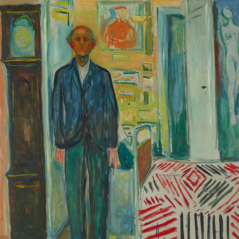 Detail of a Munch self-portrait featuring bright colors