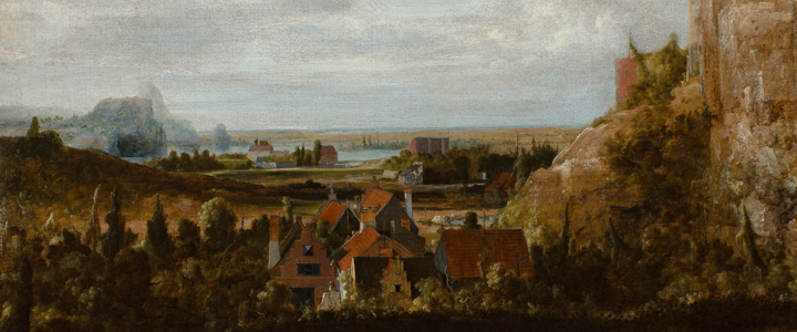 Detail view of a Dutch Golden Age oil painting depicting a town and steep cliffs