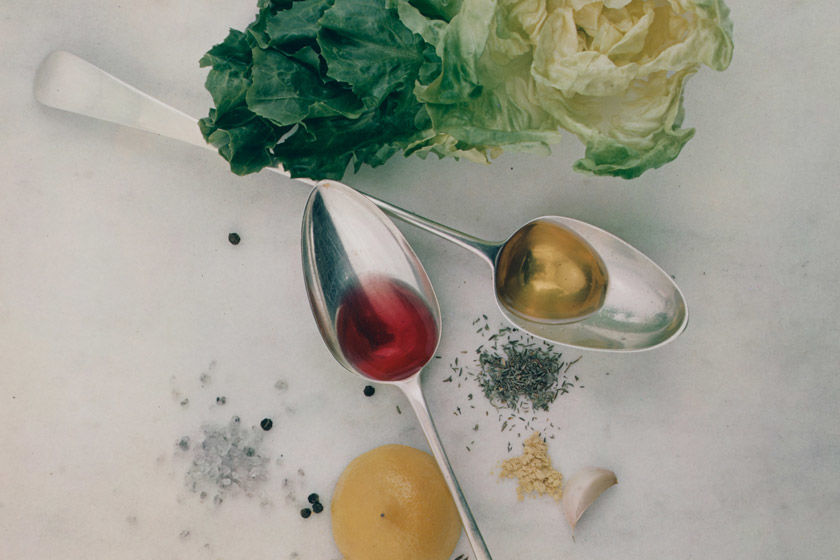 Detail of an Irving Penn photograph showing various salad ingredients
