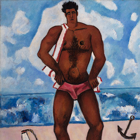 Painting of a man wearing a bathing suit while standing on a beach