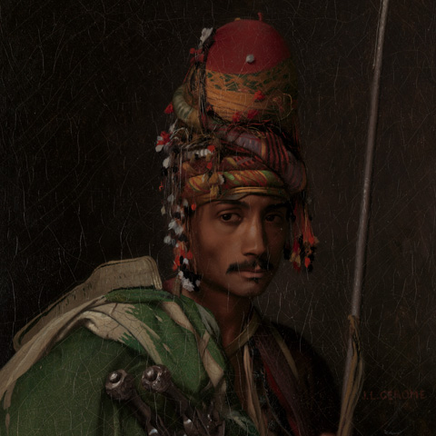"Detail view of a French portrait of a ""bashi-bazouk,"" or soldier from the Ottoman Empire"