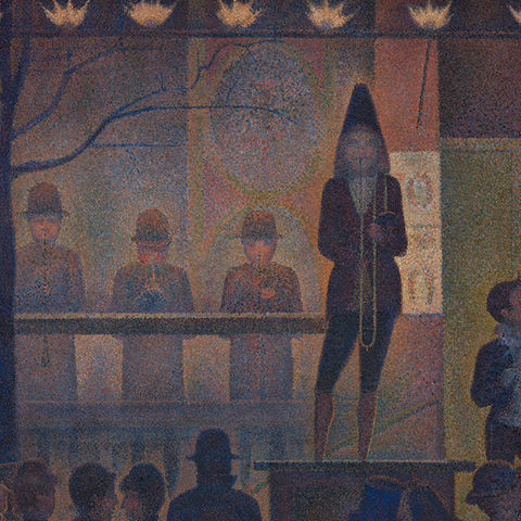 Painting executed in the pointillist style depicting a circus scene with musical performers and visitors
