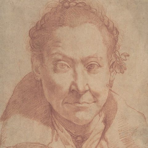 Detail of a red-chalk drawing of a woman's face by Agostino Carracci