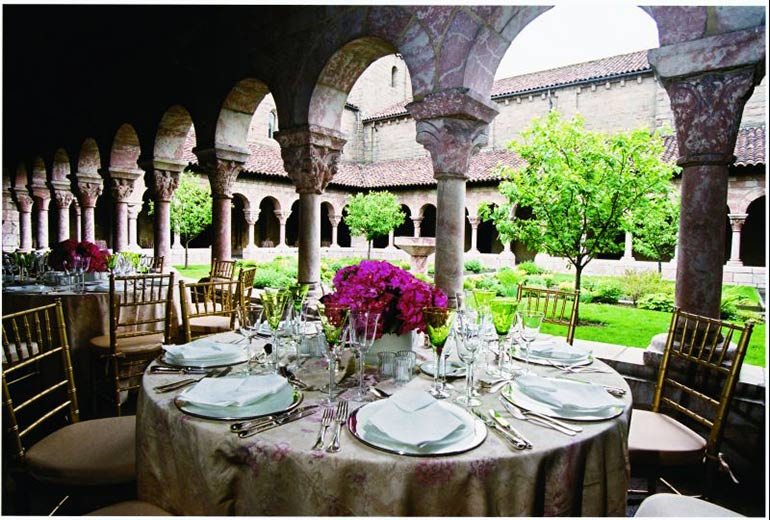 View of garden and tables at Cloisters