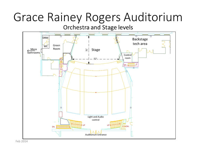 A detailed floor plan of an auditorium with dimensions, highlighting backstage areas and audio-visual areas