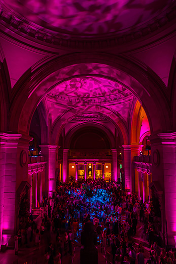 View of Great Hall with vaulted ceiling spectacularly lit