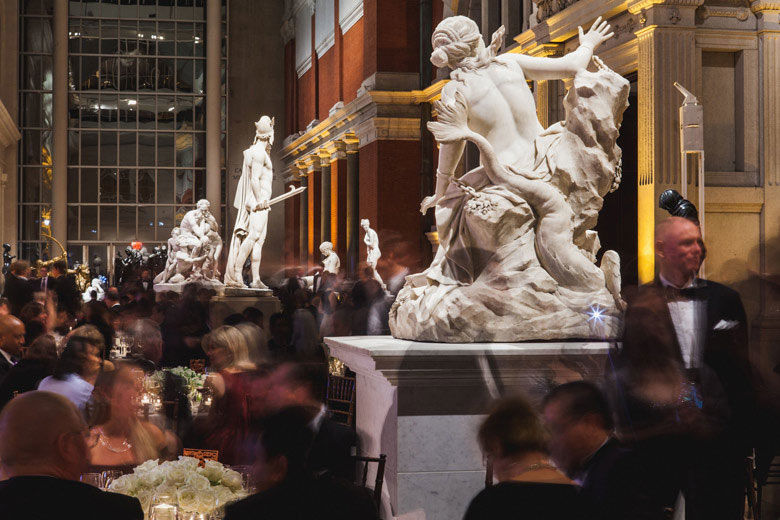 Dining in Petrie Court among white marble sculptures