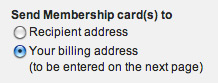 Send Membership card(s) to - screen shot