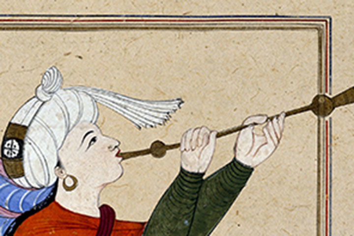Detail of a Middle Eastern artwork depicting the archangel Israfil playing a long horn