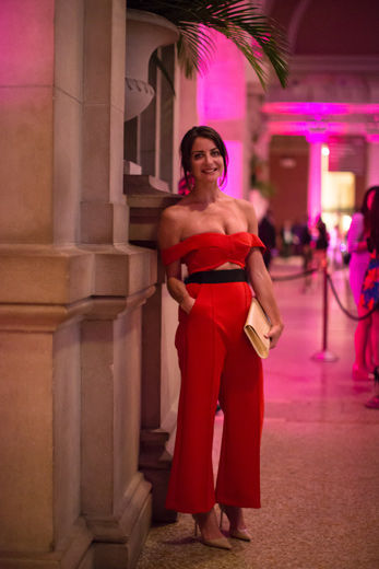 Woman in red jumpsuit