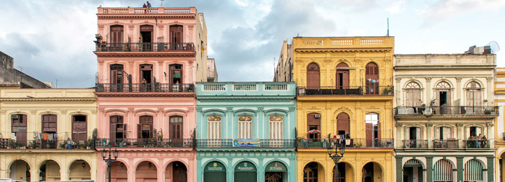A line of colorful Cuban houses