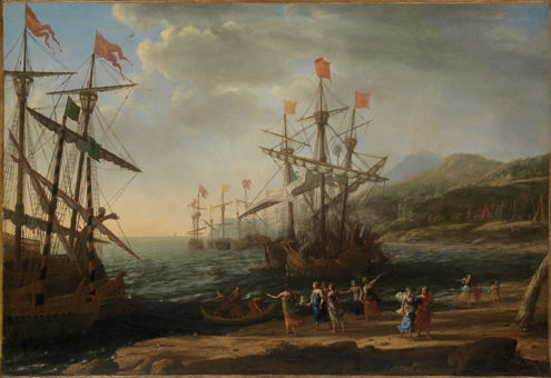 Claude Lorrain (Claude Gellée) (French, 1604/5?–1682). The Trojan Women Setting Fire to Their Fleet, About 1643. Oil on canvas; 41 3/8 x 59 7/8 in. (105.1 x 152.1 cm). The Metropolitan Museum of Art, New York, Fletcher Fund, 1955 (55.119)