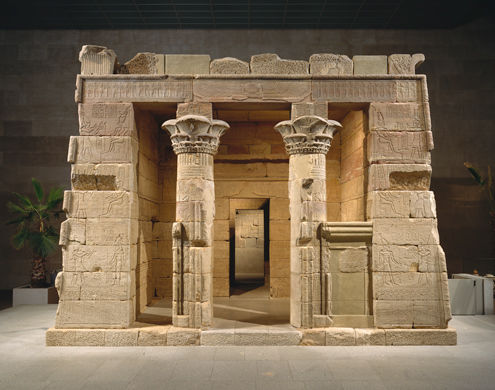 The Temple of Dendur, Roman Period, reign of Augustus Caesar, ca. 15 B.C. Egypt, Nubia, Dendur, west bank of the Nile River, 50 miles south of Aswan. Aeolian Sandstone; L. from gate to rear of temple 24 m 60 cm (82 ft.). Given to the United States by Egypt in 1965, awarded to The Metropolitan Museum of Art in 1967, and installed in The Sackler Wing in 1978 (68.154)