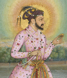 Shah Jahan on a Terrace, Holding a Pendant Set With His Portrait: Folio from the Shah Jahan Album