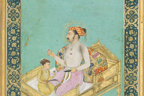 The Emperor Shah Jahan with His Son Dara Shikoh: Folio from the Shah Jahan Album