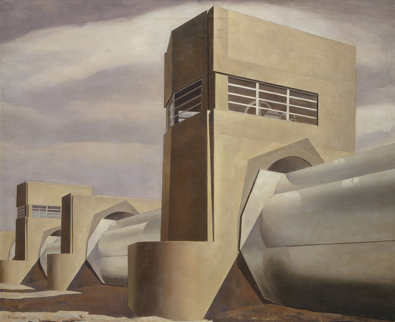 A hyper-realistic modern and austere painting of an industrial building with a cluster of huge white pipes that pierce tall stone towers