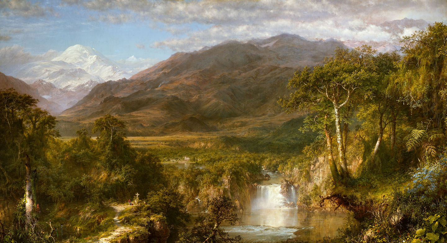 A landscape with a large snow-covered mountain in the distant background, large rocky mountains in the near background, open plains in the middle ground and a lush forest with a raging river and waterfall in the foreground