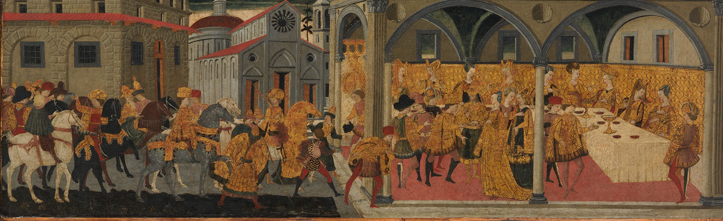 A painted and gilded Italian city scene of a procession of men on horseback arriving at the house of Queen Esther, who is hosting an elaborate dinner party with very fancily dressed guests