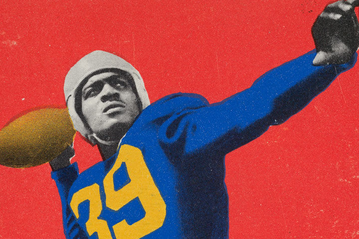 Vintage sports card showing a football player in a blue jersey with yellow lettering