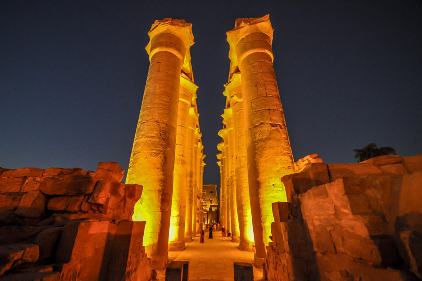 View of an illuminated monument at Luxor at night