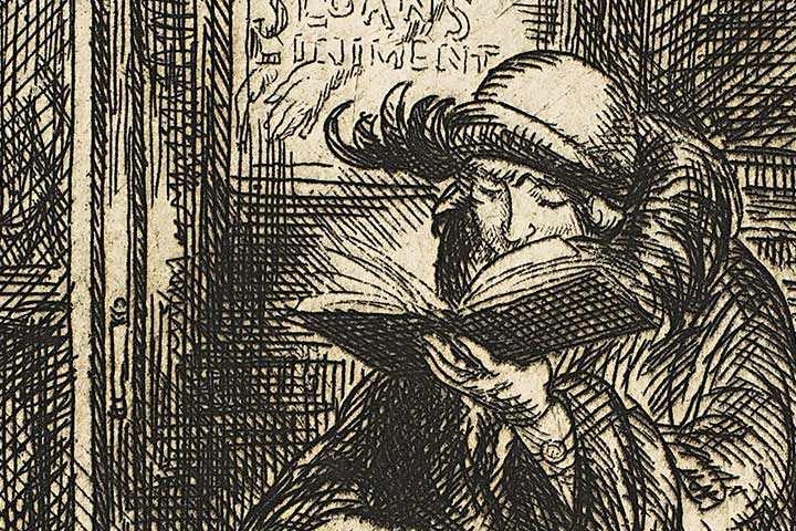 Black-ink drawing of an elderly woman reading a book