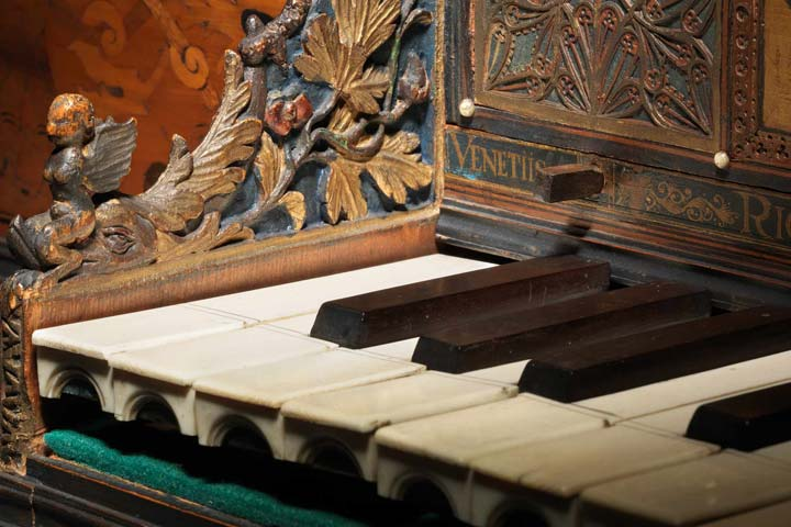Detail view of a 17th-century spinet