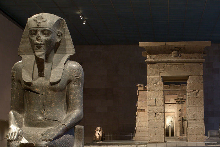 View of an Anicent Egyptian sculpture at The Temple of Dendur