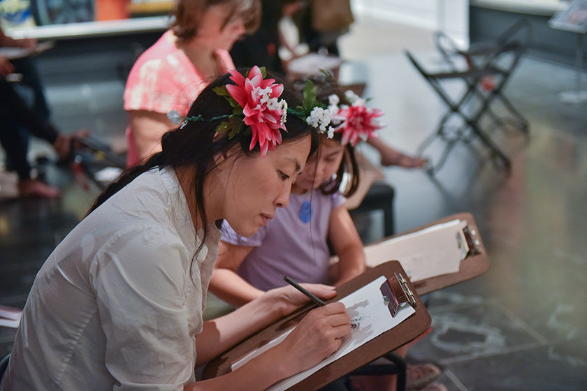 Mother and daughter at a Drop-In Drawing class