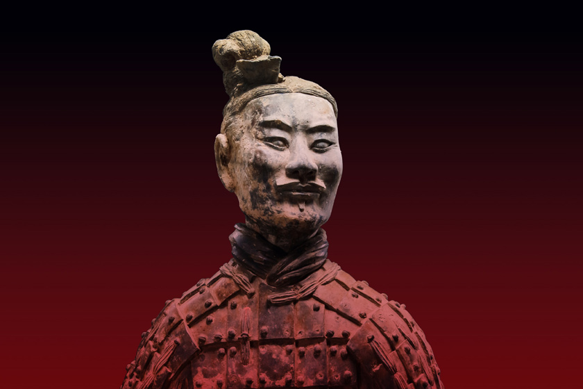Detail view of a Chinese earthenware statue of an archer