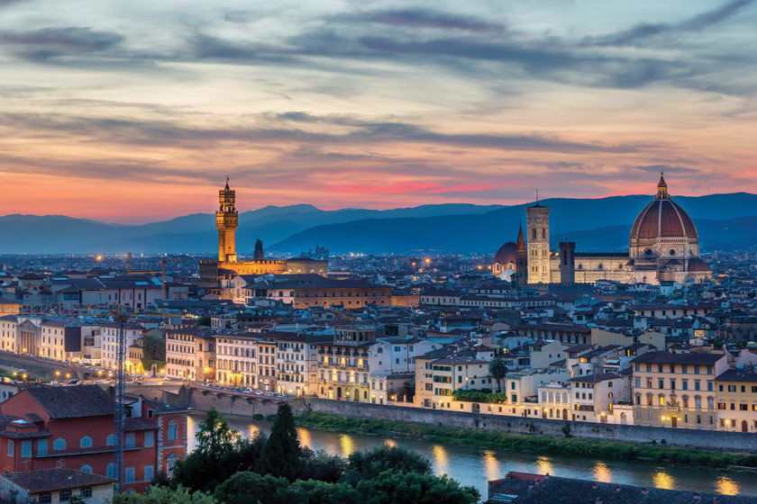 A photo of Florence, Italy at dusk