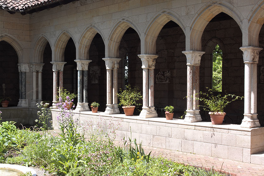 Medieval column in the courtyard of The Met Cloisters