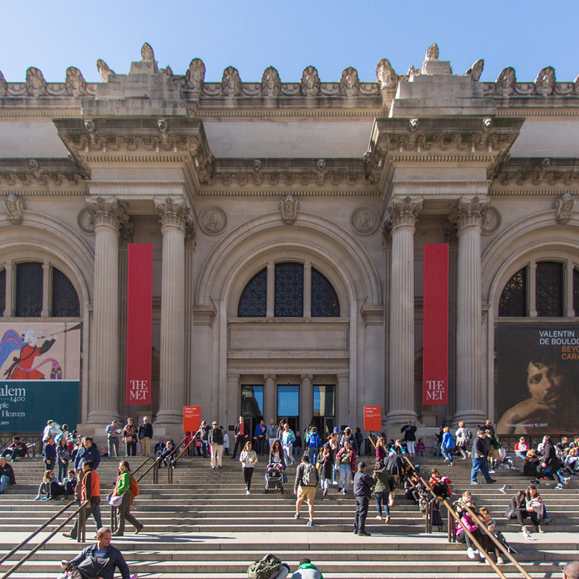 Facade of The Met Fifth Avenue on a sunny day