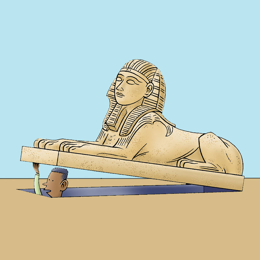 Cartoon drawing of a Sphinx